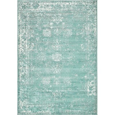 Brandt Turquoise / White Area Rug Rug Size: Rectangle 4 x 6