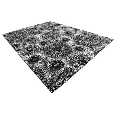 Brandt Black/White Area Rug Rug Size: Rectangle 9 x 12