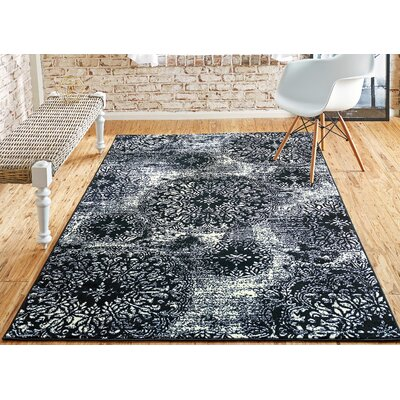 Brandt Black/White Area Rug Rug Size: Rectangle 7 x 10
