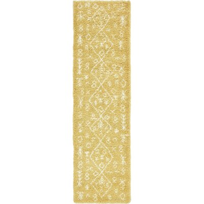 France Machine woven Yellow Area Rug Rug Size: Runner 27 x 10