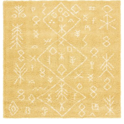 France Machine woven Yellow Area Rug Rug Size: Square 8