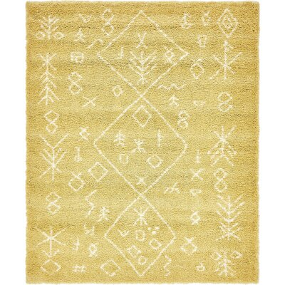 France Machine woven Yellow Area Rug Rug Size: Rectangle 8 x 10