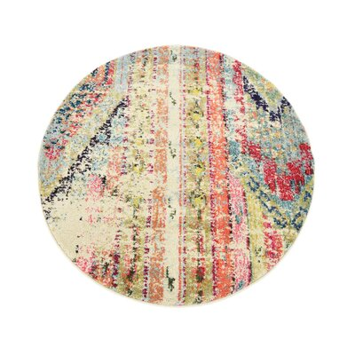 Newburyport Beige/Orange Area Rug Rug Size: Round 3