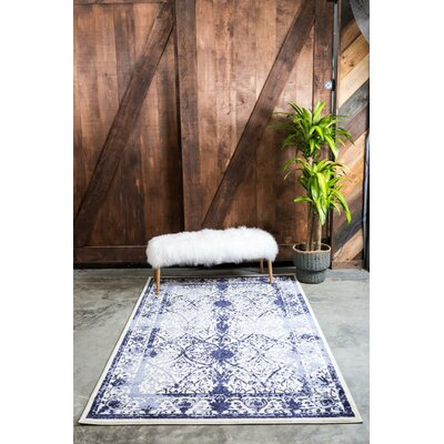 Shailene Blue Indoor/Outdoor Area Rug Rug Size: Round 6