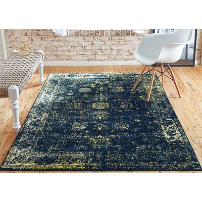 Brandt Navy Blue/Yellow Area Rug Rug Size: Rectangle 4 x 6