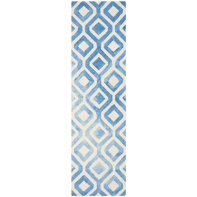 Euphemia Hand-Woven Ivory/Blue Kids Rug Rug Size: Runner 23 x 8