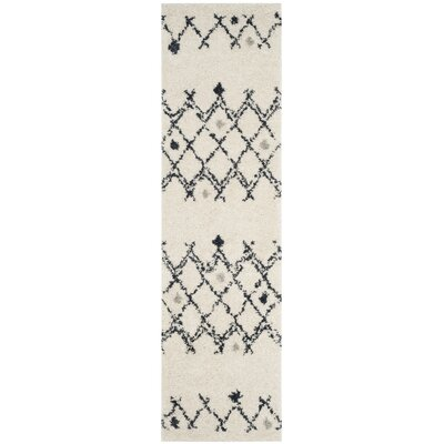 Mangual Cream/Navy Area Rug Rug Size: Runner 23 x 6
