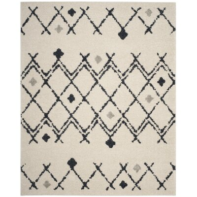 Mangual Cream/Navy Area Rug Rug Size: Rectangle 9 x 12