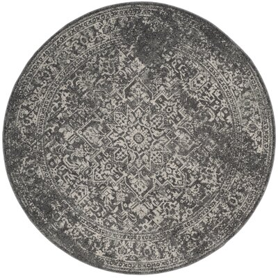 Elson Power Loom Polypropylene Gray/Ivory Area Rug Rug Size: Round 3