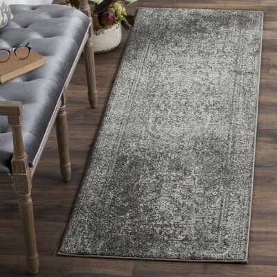 Elson Power Loom Polypropylene Gray/Ivory Area Rug Rug Size: Runner 22 x 5