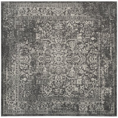 Elson Power Loom Polypropylene Gray/Ivory Area Rug Rug Size: Square 3