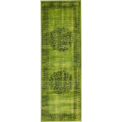 Neuilly Sage Green/Black Area Rug Rug Size: Runner 3 x 91