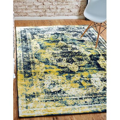 Brandt Navy Blue/ Yellow Area Rug Rug Size: Rectangle 9 x 12
