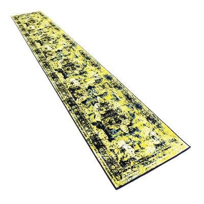 Brandt Navy Blue/ Yellow Area Rug Rug Size: Runner 2 x 67