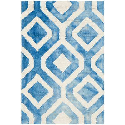 Euphemia Hand-Woven Ivory/Blue Kids Rug Rug Size: Rectangle 2 x 3