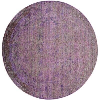 Doline Purple Area Rug Rug Size: Round 67