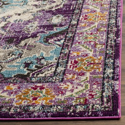Newburyport Violet/Light Blue Area Rug Rug Size: Rectangle 51 x 77
