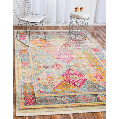 Regina Pink/Olive Area Rug Rug Size: Rectangle 43 x 6