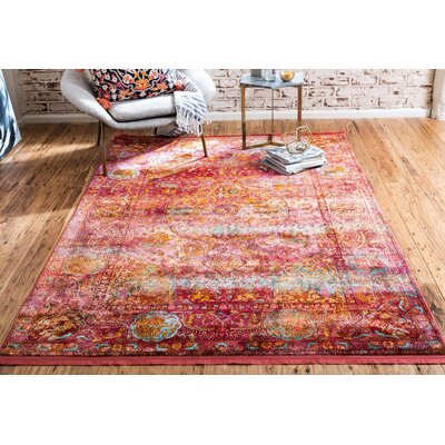 Regina Red Area Rug Rug Size: Rectangle 10 x 13