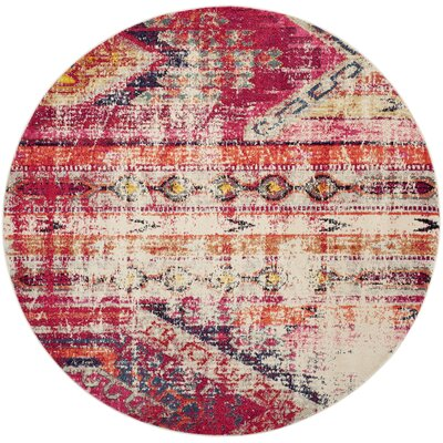 Elston Tibetan Pink Area Rug Rug Size: Round 67