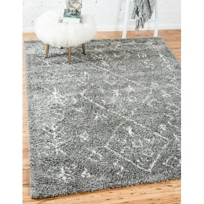 France Machine woven Gray Area Rug Rug Size: Rectangle 4 x 6