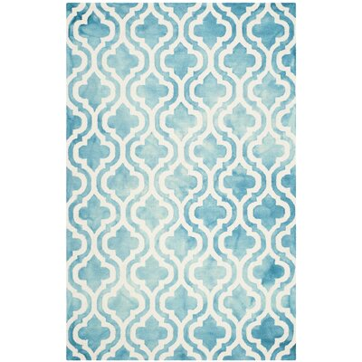 Euphemia Hand-Tufted Turquoise/Ivory Area Rug Rug Size: Rectangle 5 x 8