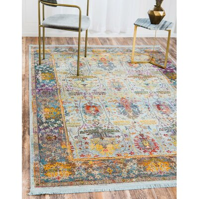 Regina Light Blue Area Rug Rug Size: Rectangle 55 x 8