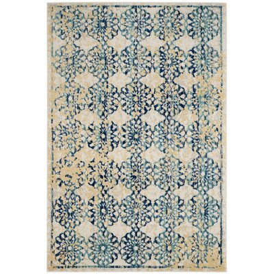 Elson Rectangle Ivory/Blue Area Rug Rug Size: Rectangle 4 x 6