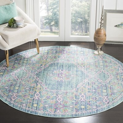 Bangou Blue/Purple Area Rug Rug Size: Round 6'