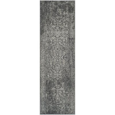 Elson Power Loom Polypropylene Gray/Ivory Area Rug Rug Size: Runner 22 x 9