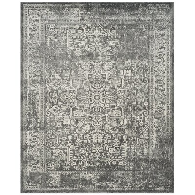 Elson Power Loom Polypropylene Gray/Ivory Area Rug Rug Size: Rectangle 10 x 14