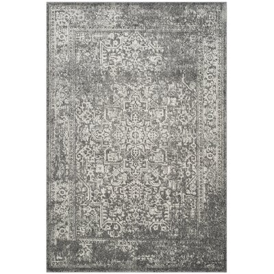 Elson Power Loom Polypropylene Gray/Ivory Area Rug Rug Size: Rectangle 4 x 6