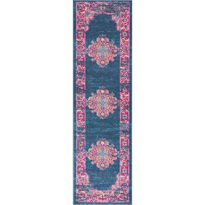 Wiggins Blue Area Rug Rug Size: Runner 22 x 76