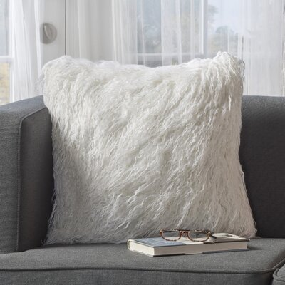 Milagro Faux Fur Square Throw Pillow Color: White