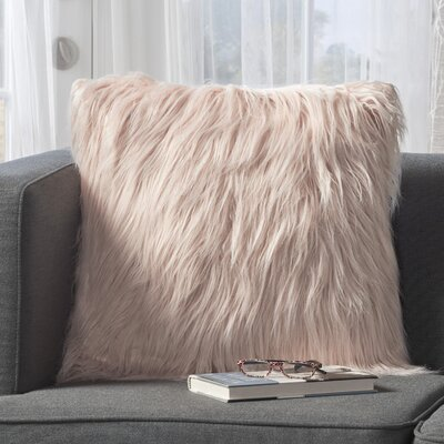 Milagro Faux Fur Square Throw Pillow Color: Pastel Pink