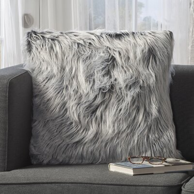Milagro Faux Fur Square Throw Pillow Color: Silver