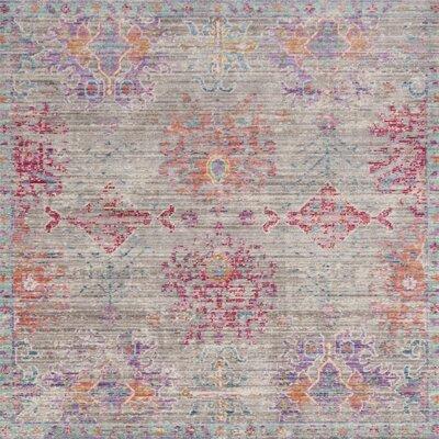 Bangou Gray/Fuchsia Area Rug Rug Size: Square 6