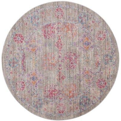Bangou Gray/Fuchsia Area Rug Rug Size: Round 6