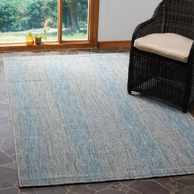 Myers Abstract Gray/Aqua Indoor/Outdoor Area Rug Rug Size: Rectangle 53 x 77