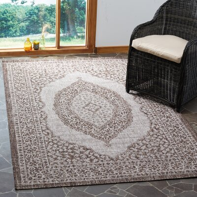 Myers Light Beige/Brown Indoor/Outdoor Area Rug Rug Size: Rectangle 53 x 77