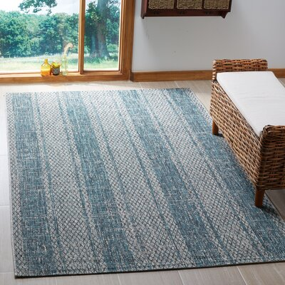Myers Striped Light Gray/Teal Indoor/Outdoor Area Rug Rug Size: Rectangle 53 x 77
