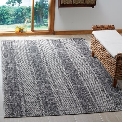 Myers Striped Gray/Black Indoor/Outdoor Area Rug Rug Size: Rectangle 53 x 77