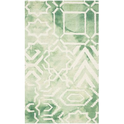 Landry Hand-Tufted Green/Ivory Area Rug Rug Size: Rectangle 3 x 5