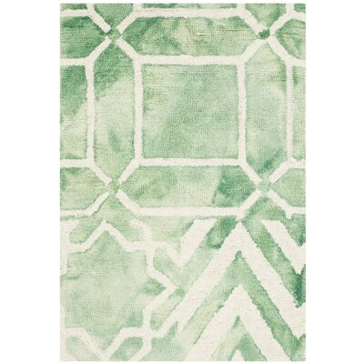Landry Hand-Tufted Green/Ivory Area Rug Rug Size: Rectangle 2 x 3