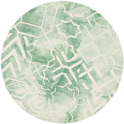 Landry Hand-Tufted Green/Ivory Area Rug Rug Size: Round 5