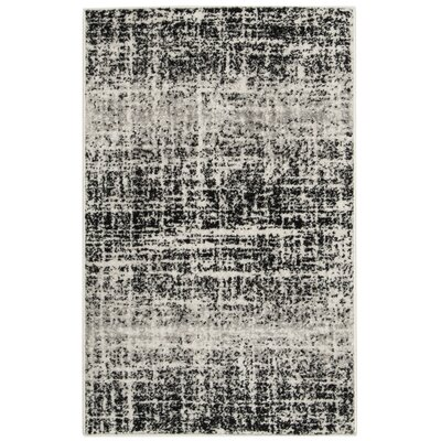 Norwell Gray/Black Area Rug Rug Size: Rectangle 26 x 4