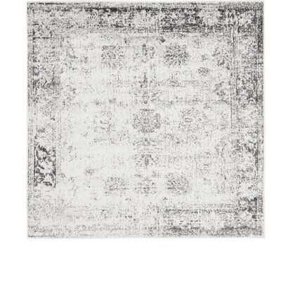 Brandt Machine Woven Gray/Beige Area Rug Rug Size: Square 6