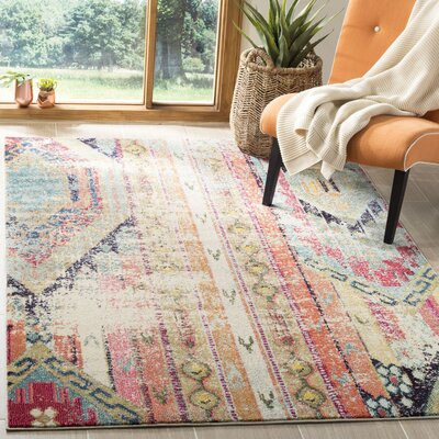 Newburyport Beige/Orange Area Rug Rug Size: Rectangle 51 x 77