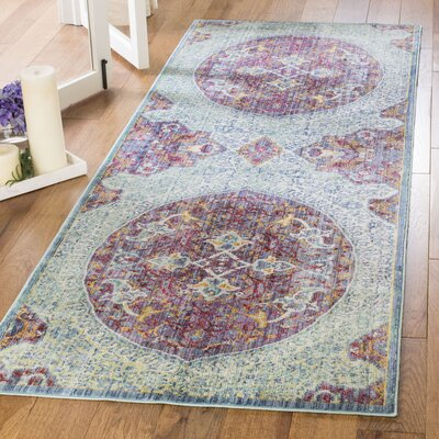 Mellie Purple/Green/Beige Area Rug Rug Size: Runner 3 x 8
