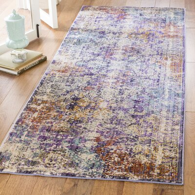 Mellie Purple/Beige Area Rug Rug Size: Runner 3 x 8